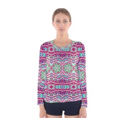 Colorful Seamless Background With Floral Elements Women s Long Sleeve Tee