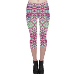 Colorful Seamless Background With Floral Elements Capri Leggings