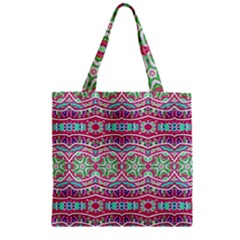 Colorful Seamless Background With Floral Elements Zipper Grocery Tote Bag
