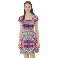 Colorful Seamless Background With Floral Elements Short Sleeve Skater Dress
