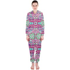 Colorful Seamless Background With Floral Elements Hooded Jumpsuit (Ladies)