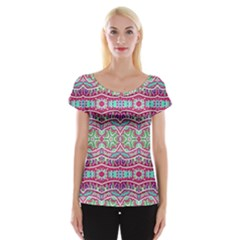 Colorful Seamless Background With Floral Elements Women s Cap Sleeve Top