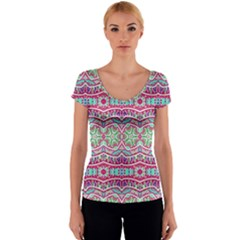 Colorful Seamless Background With Floral Elements Women s V-Neck Cap Sleeve Top