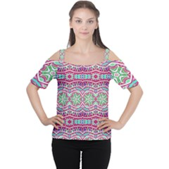 Colorful Seamless Background With Floral Elements Women s Cutout Shoulder Tee