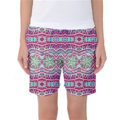 Colorful Seamless Background With Floral Elements Women s Basketball Shorts