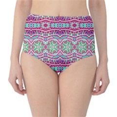 Colorful Seamless Background With Floral Elements High Waist Bikini Bottoms