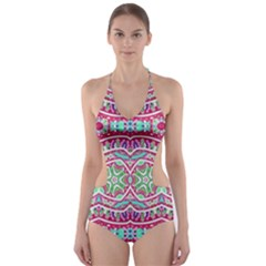 Colorful Seamless Background With Floral Elements Cut Out One Piece Swimsuit
