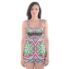 Colorful Seamless Background With Floral Elements Skater Dress Swimsuit