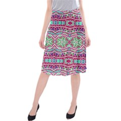 Colorful Seamless Background With Floral Elements Midi Beach Skirt