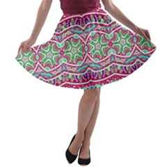 Colorful Seamless Background With Floral Elements A Line Skater Skirt