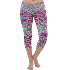 Colorful Seamless Background With Floral Elements Capri Yoga Leggings