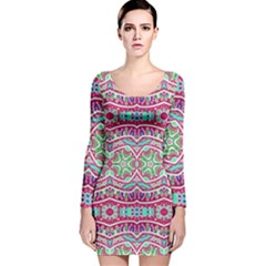 Colorful Seamless Background With Floral Elements Long Sleeve Velvet Bodycon Dress