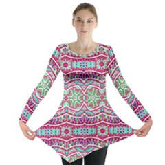 Colorful Seamless Background With Floral Elements Long Sleeve Tunic