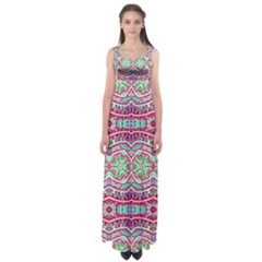 Colorful Seamless Background With Floral Elements Empire Waist Maxi Dress