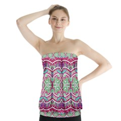 Colorful Seamless Background With Floral Elements Strapless Top