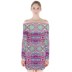 Colorful Seamless Background With Floral Elements Long Sleeve Off Shoulder Dress