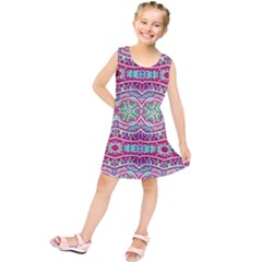 Colorful Seamless Background With Floral Elements Kids  Tunic Dress