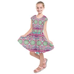 Colorful Seamless Background With Floral Elements Kids  Short Sleeve Dress