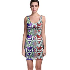 Digital Patterned Ornament Computer Graphic Sleeveless Bodycon Dress