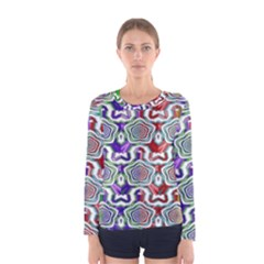 Digital Patterned Ornament Computer Graphic Women s Long Sleeve Tee