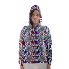 Digital Patterned Ornament Computer Graphic Hooded Wind Breaker (women)