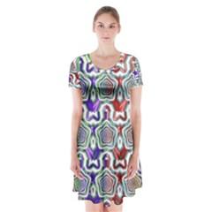 Digital Patterned Ornament Computer Graphic Short Sleeve V Neck Flare Dress
