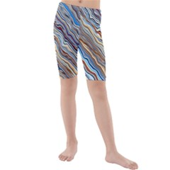 Fractal Waves Background Wallpaper Pattern Kids  Mid Length Swim Shorts