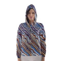 Fractal Waves Background Wallpaper Pattern Hooded Wind Breaker (women)