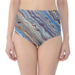 Fractal Waves Background Wallpaper Pattern High-Waist Bikini Bottoms