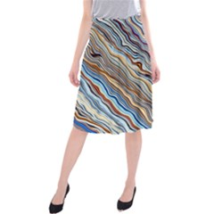 Fractal Waves Background Wallpaper Pattern Midi Beach Skirt