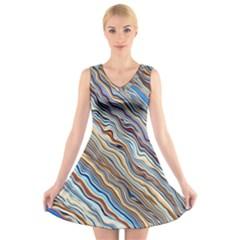 Fractal Waves Background Wallpaper Pattern V Neck Sleeveless Skater Dress