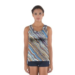 Fractal Waves Background Wallpaper Pattern Women s Sport Tank Top