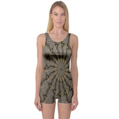 Abstract Image Showing Moiré Pattern One Piece Boyleg Swimsuit
