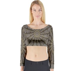 Abstract Image Showing Moiré Pattern Long Sleeve Crop Top