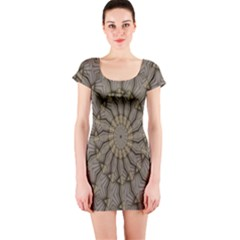 Abstract Image Showing Moiré Pattern Short Sleeve Bodycon Dress