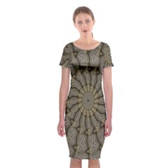 Abstract Image Showing Moir¨| Pattern Classic Short Sleeve Midi Dress