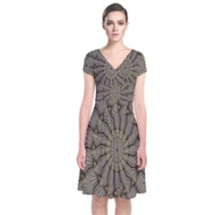 Abstract Image Showing Moiré Pattern Short Sleeve Front Wrap Dress