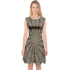 Abstract Image Showing Moir¨| Pattern Capsleeve Midi Dress