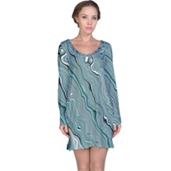 Fractal Waves Background Wallpaper Long Sleeve Nightdress