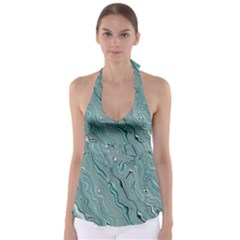 Fractal Waves Background Wallpaper Babydoll Tankini Top