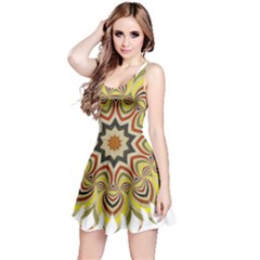 Abstract Geometric Seamless Ol Ckaleidoscope Pattern Reversible Sleeveless Dress
