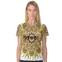 Abstract Geometric Seamless Ol Ckaleidoscope Pattern Women s V-Neck Sport Mesh Tee
