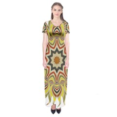 Abstract Geometric Seamless Ol Ckaleidoscope Pattern Short Sleeve Maxi Dress