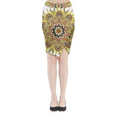 Abstract Geometric Seamless Ol Ckaleidoscope Pattern Midi Wrap Pencil Skirt