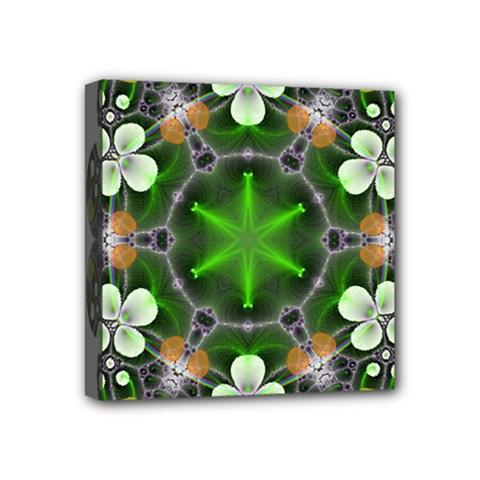 Green Flower In Kaleidoscope Mini Canvas 4  x 4