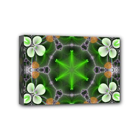 Green Flower In Kaleidoscope Mini Canvas 6  x 4
