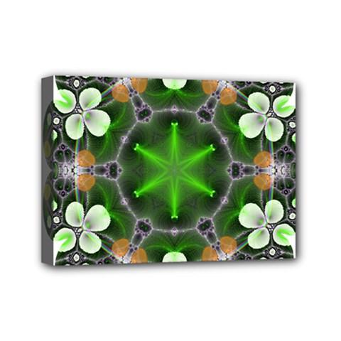 Green Flower In Kaleidoscope Mini Canvas 7  X 5