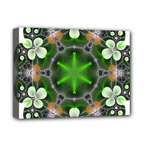 Green Flower In Kaleidoscope Deluxe Canvas 16  X 12