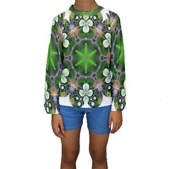 Green Flower In Kaleidoscope Kids  Long Sleeve Swimwear