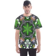 Green Flower In Kaleidoscope Men s Sport Mesh Tee